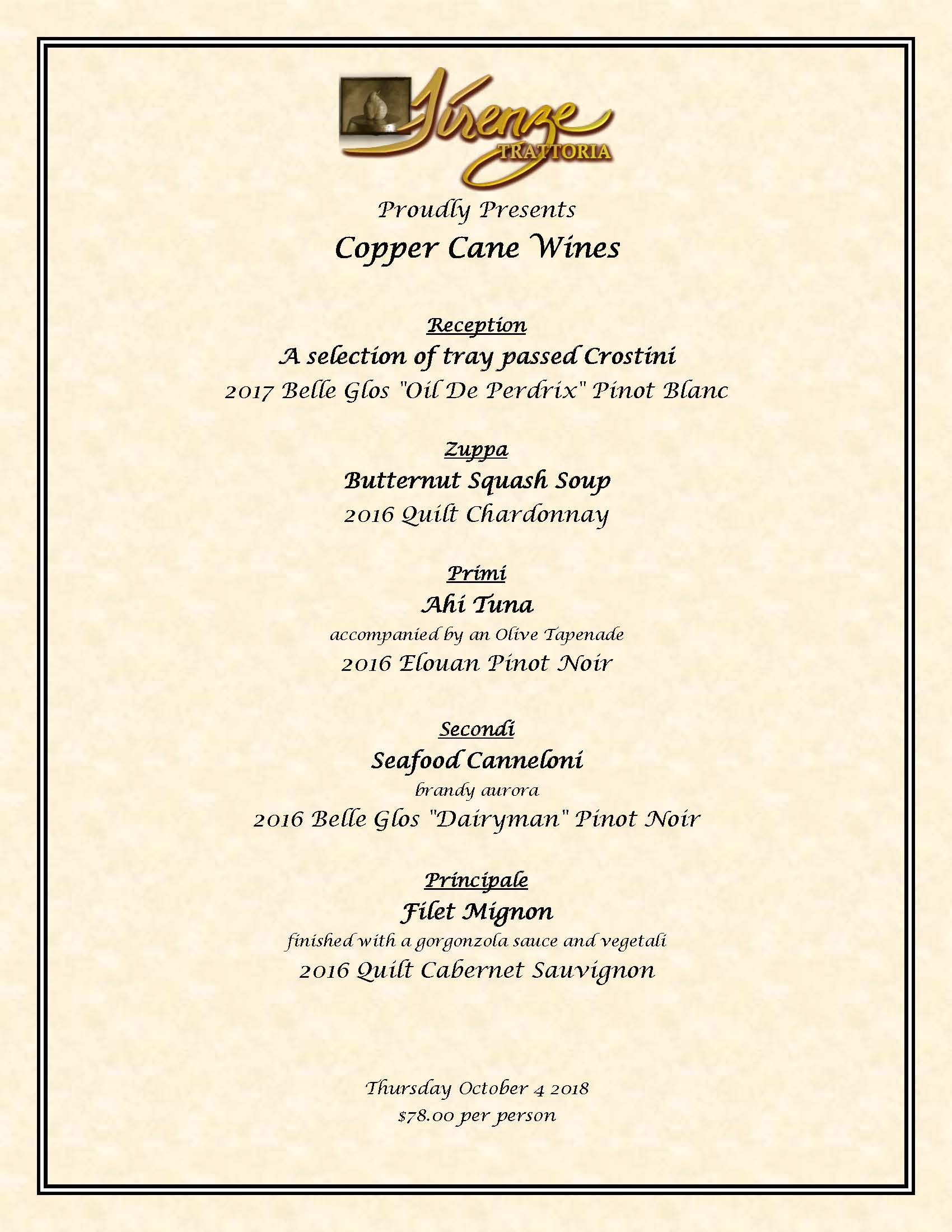 We Proudly Present Copper Cane Wines – October 4th 2018